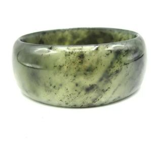 Jewelry - Solid Moss Agate Wide Bangle Bracelet